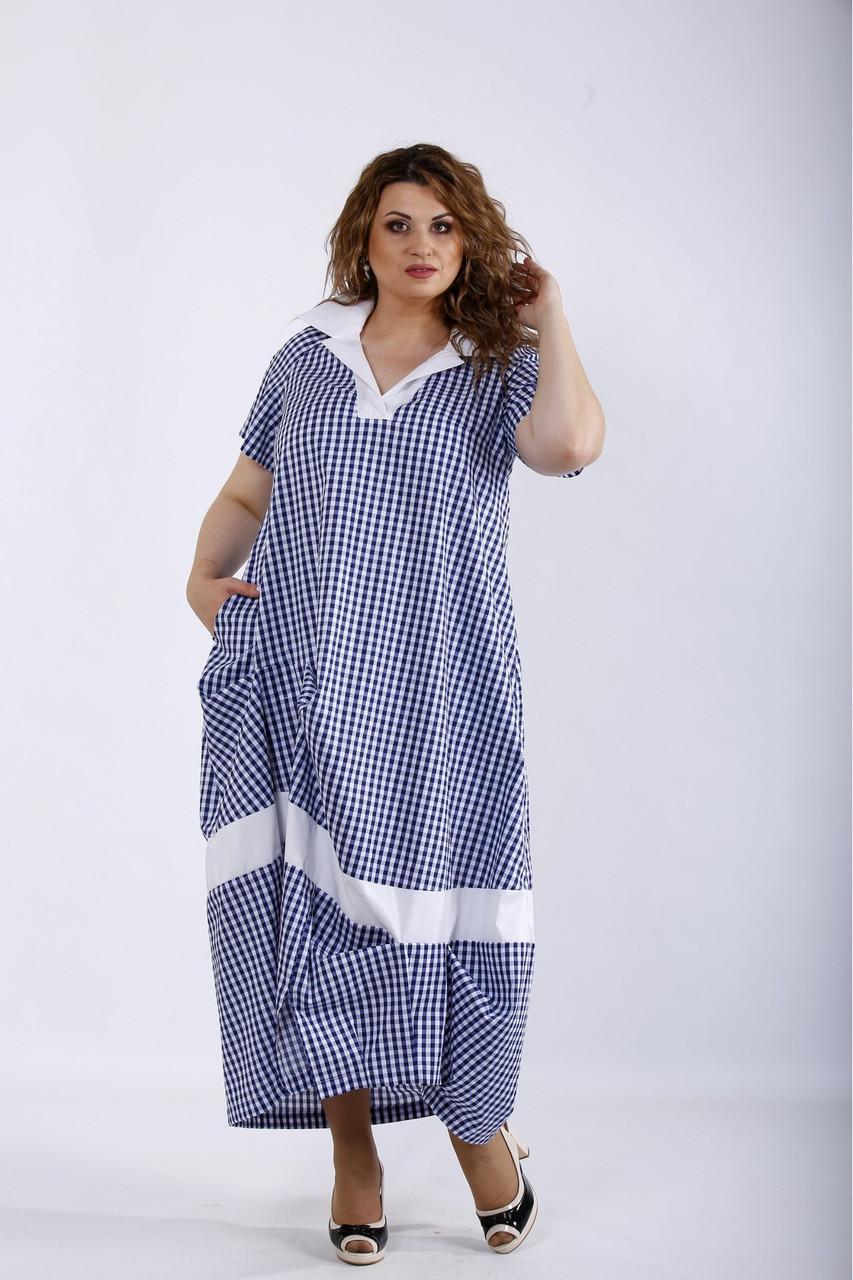 Голубое платье летнее длинное в клетку большого размера 42-74. 01204-1
