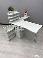 Профессиональный маникюрный стол  c приставным столиком,  Модель V430 белый, фото 1