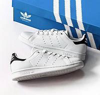 Adidas Stan Smith White/Black | кроссовки-кеды женские и мужские; кожаные; белые с черным