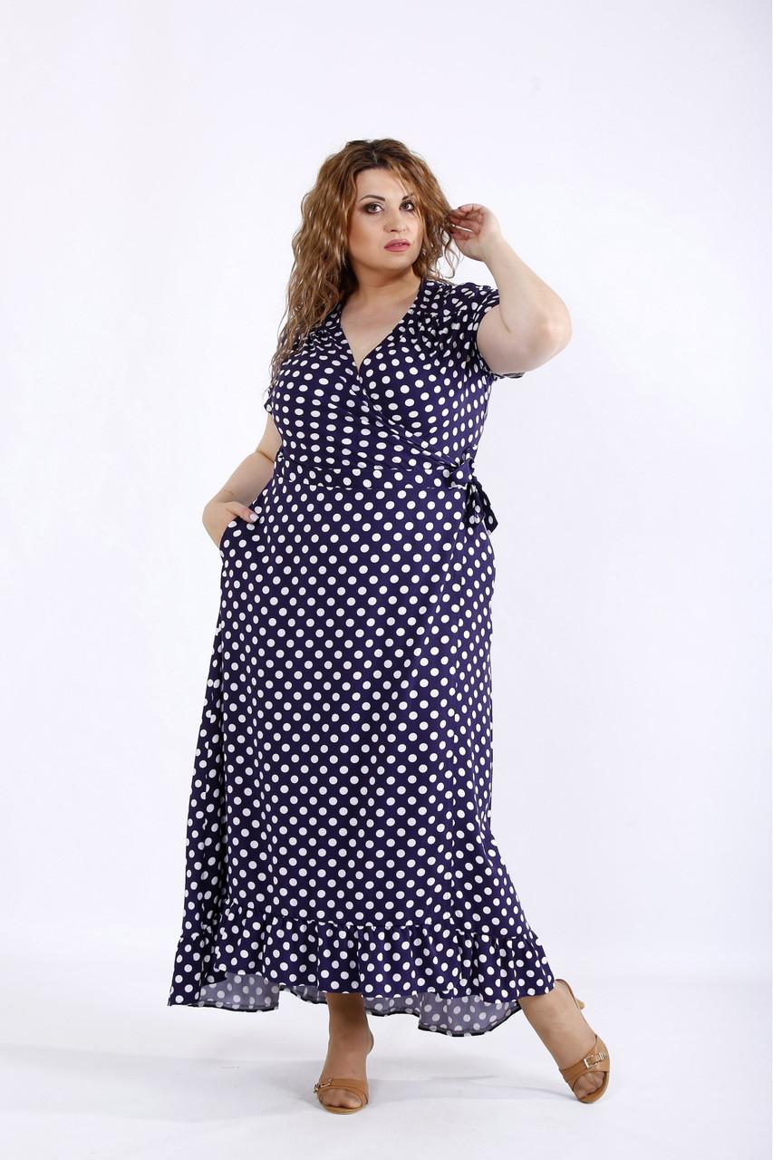 Синее платье женское летнее длинное в горох большого размера 42-74. 01205-2