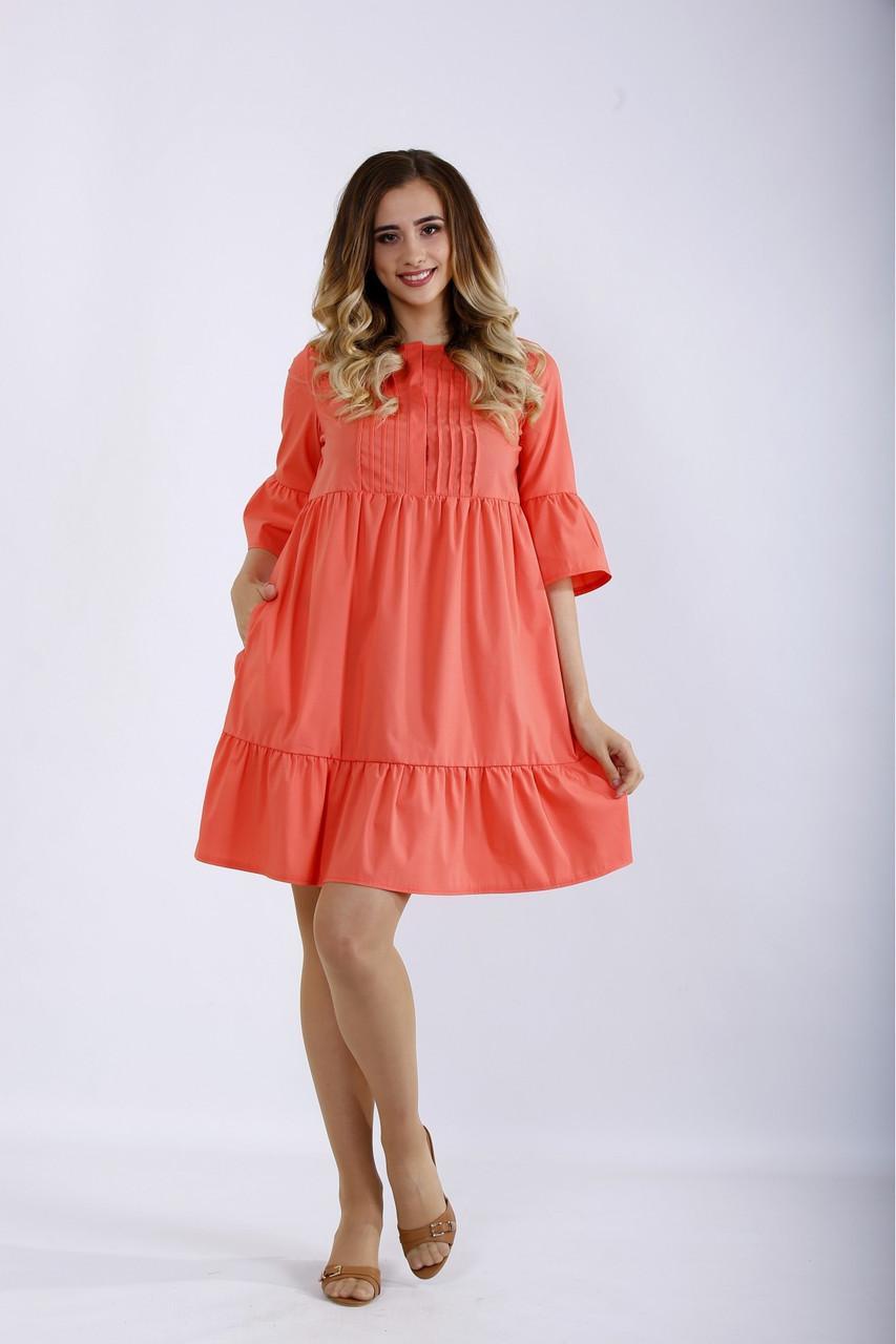 Короткое коралловое платье летнее натуральное большого размера 42-74. 01206-1
