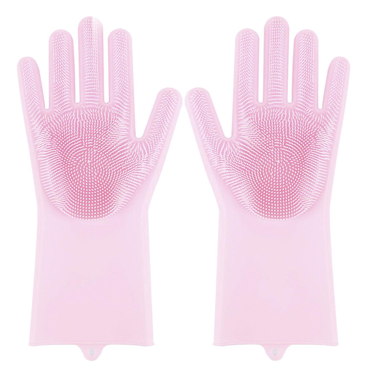 Перчатки Magic Silicone Gloves Pink силиконовые для уборки и мытья посуды