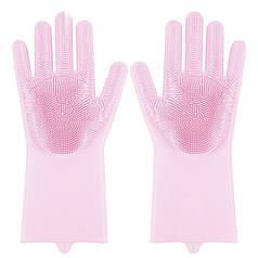 ☇Перчатки Magic Silicone Gloves Pink силиконовые для уборки и мытья посуды