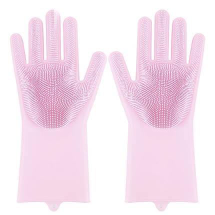 Перчатки Magic Silicone Gloves Pink силиконовые для уборки и мытья посуды, фото 2