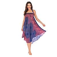 Женское платье пляжное с резинкой синее