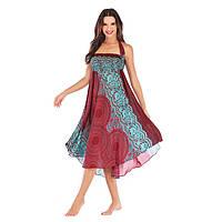 Летнее платье женское свободное бордо
