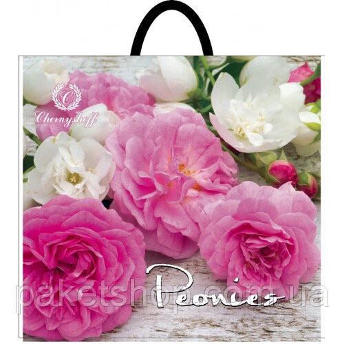 Полиэтиленовый пакет с пластиковой ручкой (сумка) ''Пионы в букете'' 380*340, 10 шт