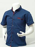 Рубашка подростковая с коротким рукавом для мальчика в точечку 12-16 лет синего цвета