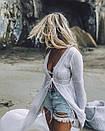 Длинная льняная туника с открытой спиной на завязке, фото 3