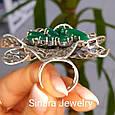 Роскошное Коктейльное серебряное кольцо с изумрудными фианитами, фото 9