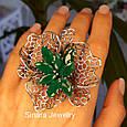Роскошное Коктейльное серебряное кольцо с изумрудными фианитами, фото 6