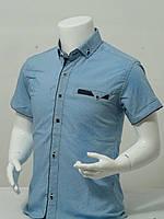 Рубашка детскаяс коротким рукавомдля мальчика в точечку стильная от 6до 11летцвет голубой