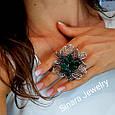 Роскошное Коктейльное серебряное кольцо с изумрудными фианитами, фото 2
