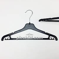 Пластмассовые детские плечики вешалки тремпеля для одежды W-PY35 черного цвета, длина 350 мм