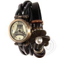 Часы с Эйфелевой башней на кожаном ремешке