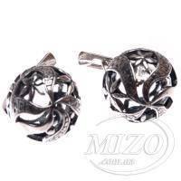 Серебряные серьги - Бегония 2262