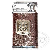 Зажигалка с гербом Украины на кожаном корпусе