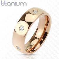 Золотое титановое кольцо с фианитами R-TM-3699