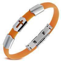 Яркий узкий каучуковый браслет с крестом TCL220-022