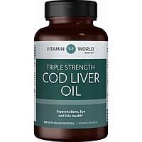 Vitamin World, Рыбий жир Cod Liver Oil 1000 mg (Омега 3), 120 капсул