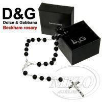 Dolce & Gabbana Beckham Rosary Black Bead Necklace