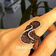 Эксклюзивное серебряное кольцо с коньячными фианитами - Брендовое серебряное Коктейльное кольцо, фото 5