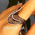 Эксклюзивное серебряное кольцо с коньячными фианитами - Брендовое серебряное Коктейльное кольцо, фото 4
