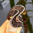 Эксклюзивное серебряное кольцо с коньячными фианитами - Брендовое серебряное Коктейльное кольцо, фото 6