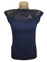 Блуза женская трикотажная темно-синяя