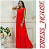 """Платье женское, стильное, летнее """"Крестьянка"""", красное, 913-103"""