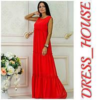"""Платье женское, стильное, летнее """"Крестьянка"""", красное, 913-103, фото 1"""