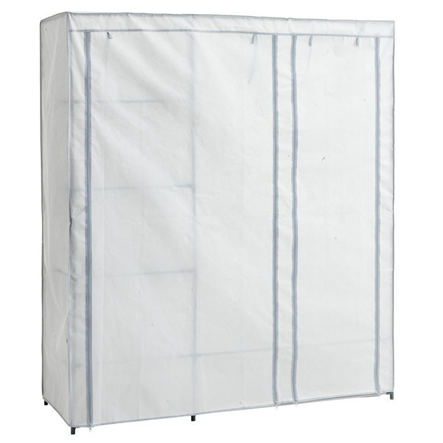Большой сборный тканевый шкаф DAMHUS 149х50х174 серый