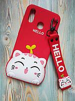 Резиновый объемный 3D чехол для Huawei P Smart + Hello Kitty красный