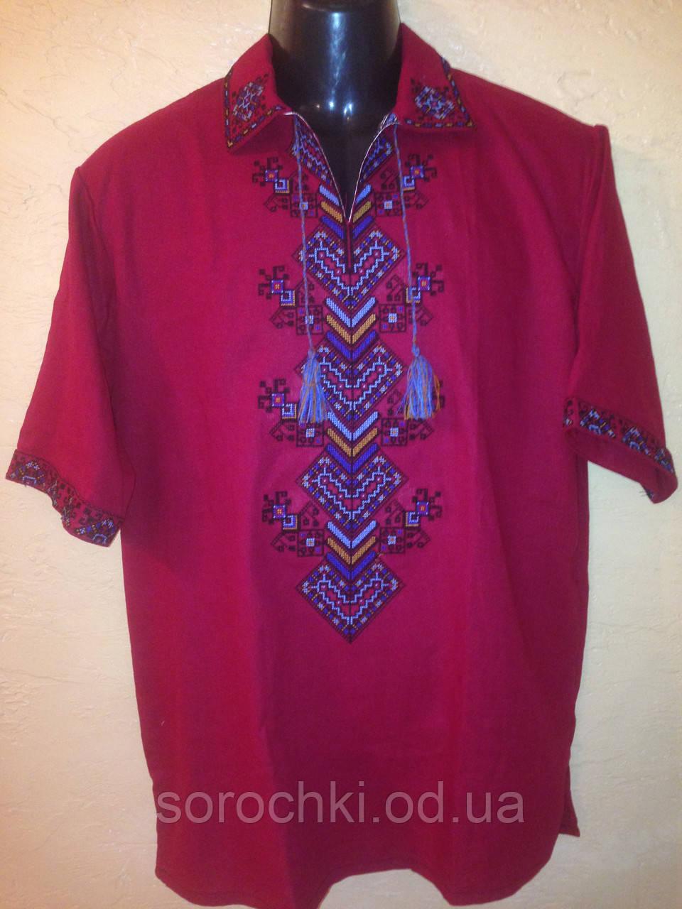 """Рубаха - вышиванка , мужская, бордовая, орнамент """" Берегиня"""""""