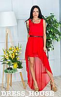 """Платье женское, стильное, летнее """"ШЛЕЙФ"""", красное, 913-108"""