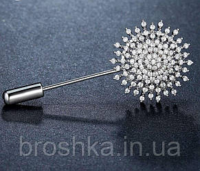 Брошь игла цветок ювелирная бижутерия, фото 2