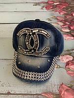 Бейсболка женская джинсовая  со стразами и камнями  (54-55 см)