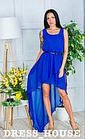 """Платье женское, стильное, летнее """"ШЛЕЙФ"""", синее, 913-110, фото 1"""