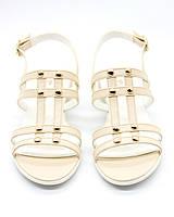 Босоножки женские из натуральной кожи на каблуке - женская летняя обувь, сандали женские бежевые, размер 37