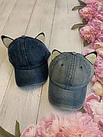 Бейсболка женская джинсовая  со стразами и ушками (54-55 см)