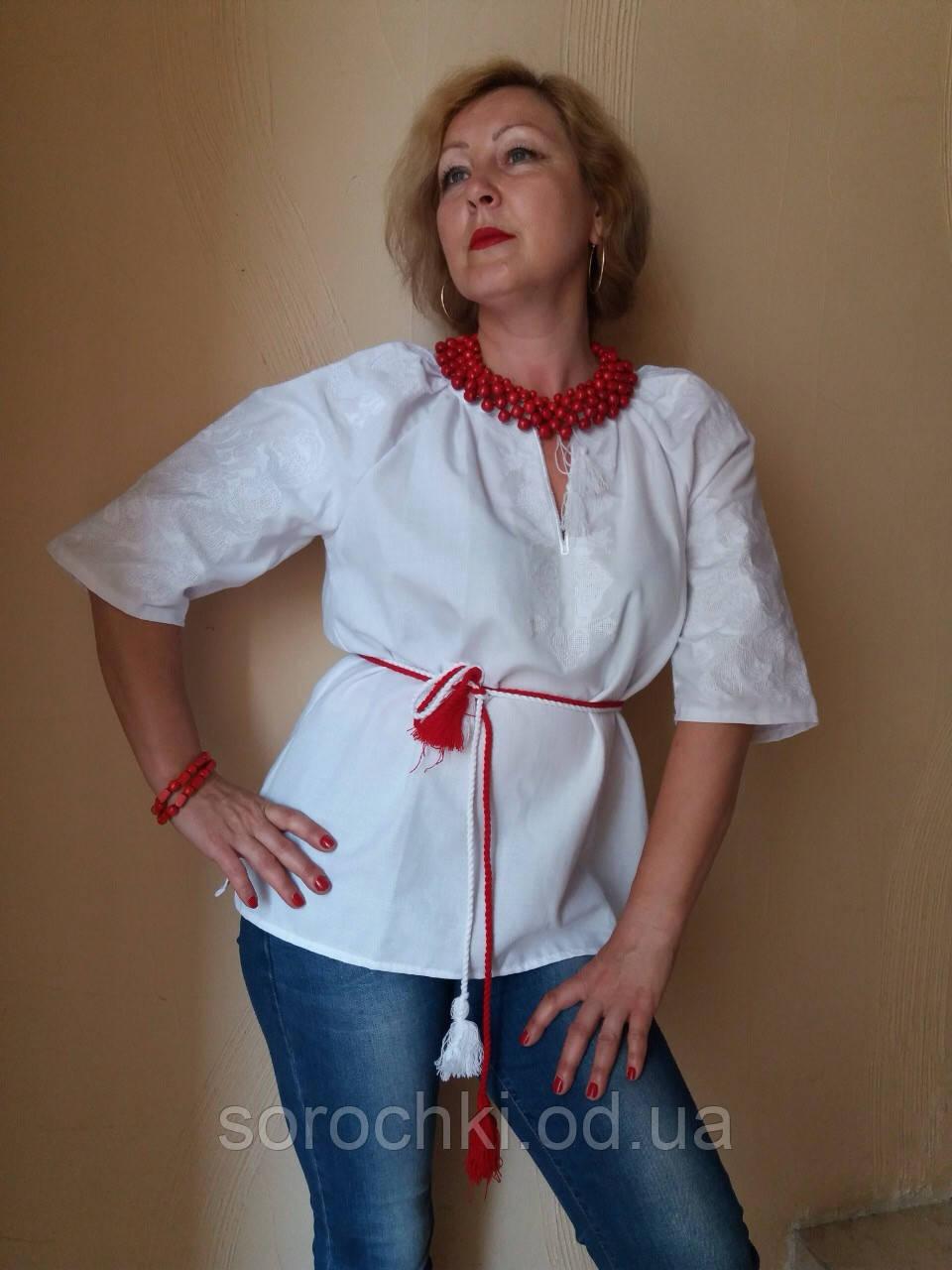 """Вышиванка , женская, белая , домотканное полотно , короткий рукав , узор """" Княжна"""""""
