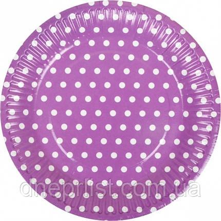 """Тарелки одноразовые бумажные, 18 см """"Горох"""", фиолетовые / 10 шт, фото 2"""