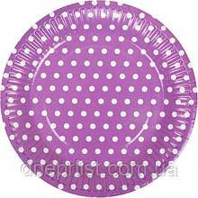 """Тарелки одноразовые бумажные, 18 см """"Горох"""", фиолетовые / 10 шт"""