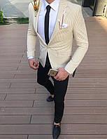 Мужской пиджак классический светло-бежевого цвета в полоску