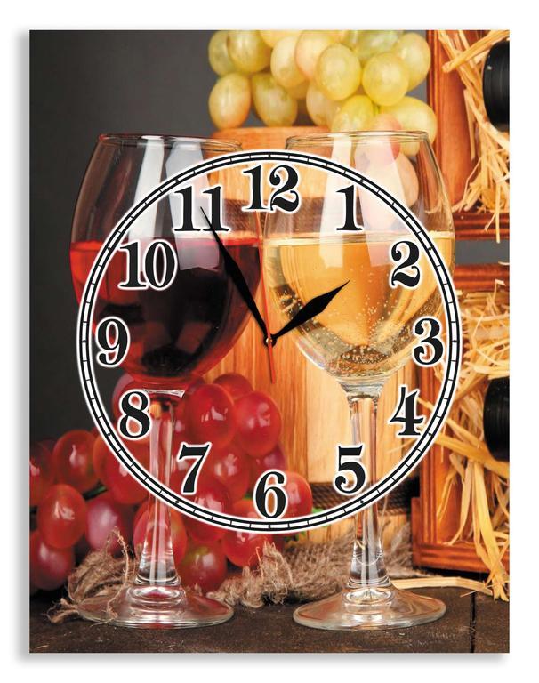 "Настенные часы для кухни на стекле ""Бокалы вина"""