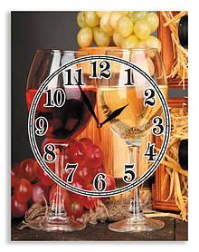 "Настенные часы для кухни на стекле ""Бокалы вина"" 1"
