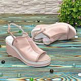 Босоножки женские кожаные на платформе, цвет пудра, фото 3