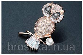 Позолоченные брошь сова с камнями и жемчугом ювелирная бижутерия, фото 2