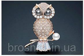 Позолоченные брошь сова с камнями и жемчугом ювелирная бижутерия, фото 3