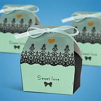 Бонбоньерка на свадьбу в виде бирюзовой коробочки